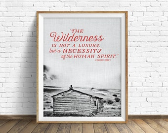 "typography print, printable quote, large art, large wall art, modern, contemporary, landscape photography, rustic, wall art - ""Wilderness"""