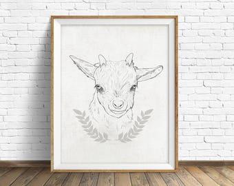 Little Goat - farm animal art, baby goat, wall art, nursery wall art, animal prints, instant download printable art, farmhouse wall art, art