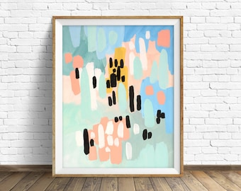 "colorful abstract wall art, large abstract wall art, pastel colors, abstract painting, instant download printable art, prints - ""Saturdays"""