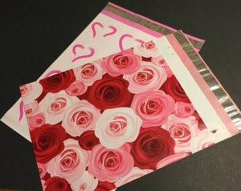 100  10x13 ROSES and HEARTS Assortment Valentines Poly Mailers Self Sealing Envelopes 50 Each