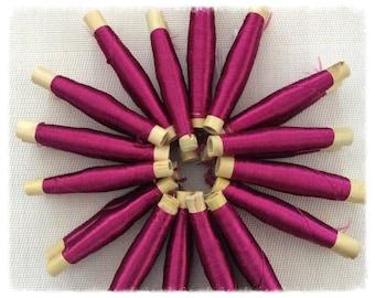 Lot of 2 rolls of Moroccan sabra, son Fuchsia, silk plant, silk