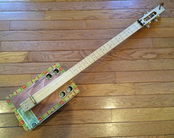 3 String Acoustic Electric Slide Cigar Box Guitar 2016-39
