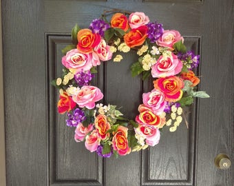 Colorful Wreath, Beautiful Wreaths,  Everyday Wreaths For Front Door, Housewarming Gift First Home, Housewarming Wreath, Floral Wreath Door