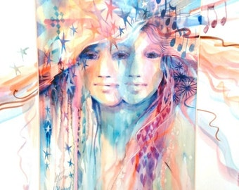 Soulmates - Spirit Inspired Watercolor Print with Unique Hand Painted Mat