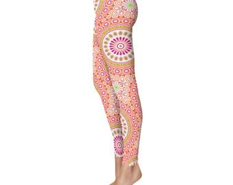 Colorful Spring Leggings - Bright Patterned Yoga Tights, Pink and Orange Mandala Flower Yoga Pants