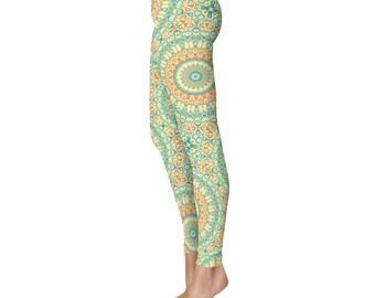 Tropical Orange and Turquoise Yoga Pants Women Leggings - Mandala Printed Leggings, Yoga Leggings, Fashion Leggings