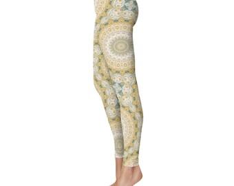 Mustard Yellow and Teal Mandala Pattern Clothing, Cool Leggings, Boho Leggings, Kaleidoscope Pattern Printed Tights