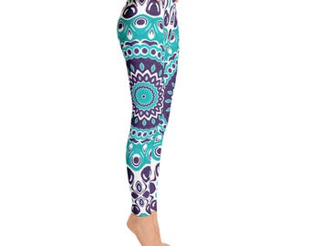 Custom Leggings - Aquamarine Blue Kaleidoscope Pattern Pants, Ocean Inspired Mandala Clothing, Yoga Tights