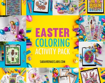 Easter Coloring Activity Pack – Easter bookmarks, cards, coloring pages, gift bags, Easter egg baskets + more | 49 craft templates!