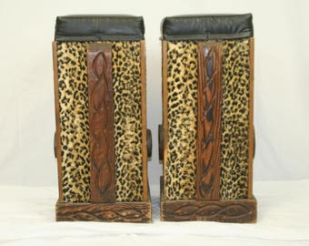 Witco Bar Stools Wonderful period fabric Cheetah Jaguar Sits well. Circle Foot Rests on Sides Carved wood side pieces. Leopard print fabric