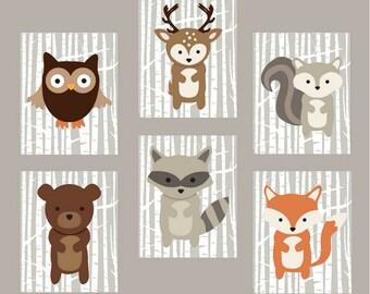 Animal Nursery Prints, Woodland, Baby Wall Art, Woodland Decor, Printable Digital Download, Print Set of 6, Six, Nursery Animals, 8x10