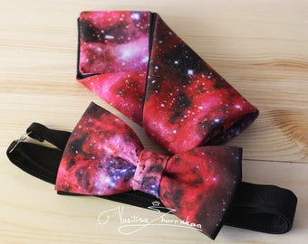 Set Space bow tie and handkerchief star wars
