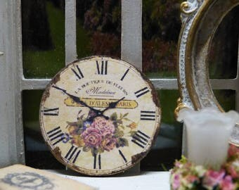 "Miniature cardboard clock, decorated style ""Shabby Chic - scale 1 / 12 - accessory of Decoration for House of doll Miniature"