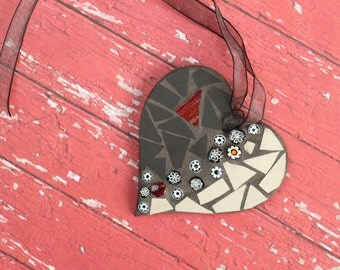 Black and White Heart, Art & Collectibles, Mosaic Ornament, Unique Decor, Gift for the Home, Gift for Wife, Mosaic art, Home Decoration