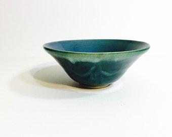 Emerald Tapered Bowl – Modern Blue-Green Dinnerware – Four (4) Piece - Elegant Home / Kitchen