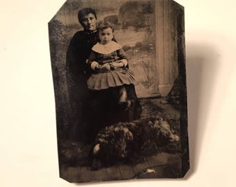 Tintype of a Mother and Her Child with their Large Fluffy Dog, 19th Century Antique Photograph