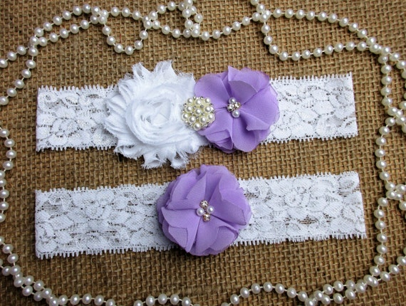 lavender chiffon rosette wedding garter set keepsake toss garter set