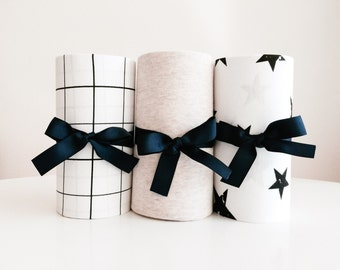 Black Friday Mini Crib Sheets, Crib Bedding Set of 3, Baby Christmas Present, Baby Shower Gift, Neutral Nursery, Monochrome Nursery