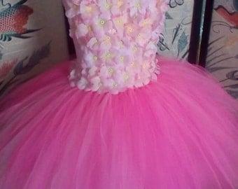 Pink Tutu Flowers Dress