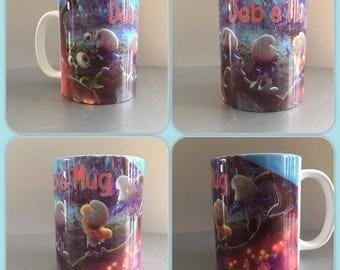 personalised mug cup smurfs smurf smurfette gargamel harris odlie village blue