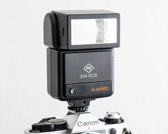 Euroblitz 334 BCS + Filters! functional flash, analog photography (working bounce electronic flashgun, hot shoe, vintage 35mm film cameras)