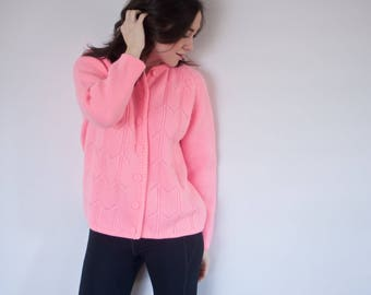 Vintage Pink Sweater Cardigan | Handmade Vintage
