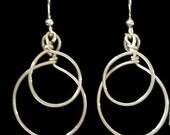 Double hoop earrings, silver hoop earrings, handmade hoop earrings, gifts for her, Christmas gift ideas, free shipping