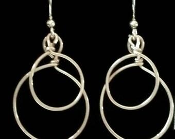 Hoop earrings, sterling silver earrings, double hoop earrings, handmade jewelry, gift, free shipping, environmentally friendly shop