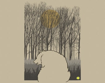 Digital art print of bear, forest, autumn, image of bear, illustration of bear, drawing of bear, painting of bear, canvas