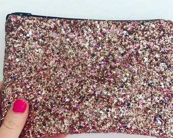 Gold pink and black glitter bag candyfloss prom wedding clutch bag