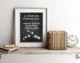 Famous Book Quotes Classroom Poster Set, digital prints