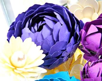 Paper Peony Flowers, DIY Paper flower Templates, Paper flower tutorial, Paper flower pattern,  DIY Paper flower bouquet, SVG Cutting Files