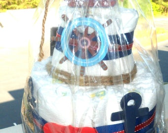 Nautical theme diaper with accessories