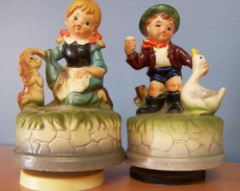 Pair of Vintage Music Boxes – Musical Figurines – Made in Japan – Girl with Dog and Boy with Goose – Andre Richard – Artmark