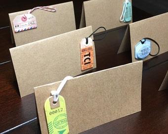 Destination Wedding Place Cards, Travel theme placecards, luggage tag seat cards, travel name cards, bridal baby shower food labels-11/order