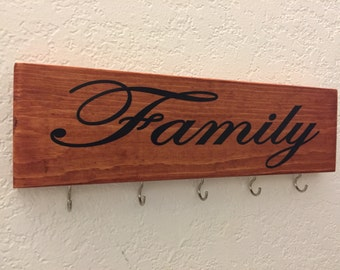 "Wooden Key holder, Key organizer, Key Rack, Distressed key holder, Key hanger, Family Sign 12"" X 3.5"", Housewarming Gift, Home Sign, Family"