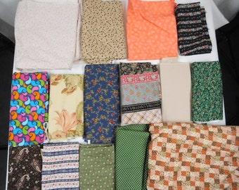Lot 15 Pieces New Cotton Corduroy Quilt Craft Fabric Prints Scraps Remnants Crazy Quilt Sewing Art Home Decor 7 Pounds Floral Paisley