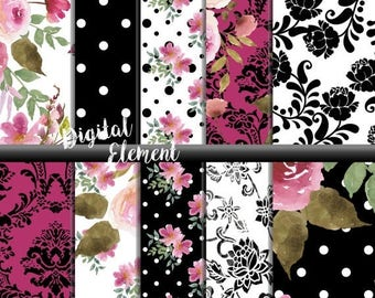 ON SALE Digital Paper, Watercolor Scrapbook Paper, Digital Shabby Pink Rose Paper, Rose Watercolor Scrapbook Paper. No. P160