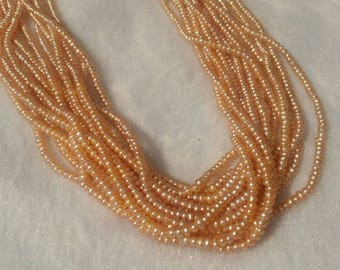 2.5MM Freshwater Peach Cultured  Pearl .Natural Freshwater pearl , AAA Grade,button shape pearl code 02