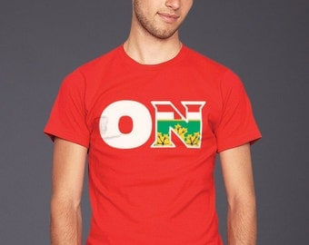 Black Maple | Ontario ON Province code + flag Red t-shirt Men's and Ladies Sizes