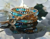 Bracelet,  leather wrap,  blue mix, faceted gemstones, agate,turquoise,  Crystals, Sterling silver,  boho style