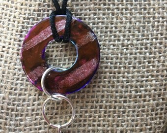 Hand painted necklace with moon