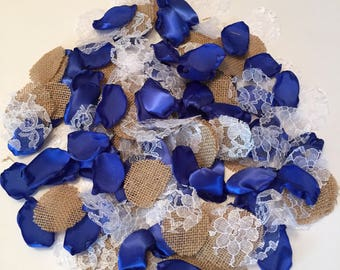 Royal Blue Rustic Rose Petals/Blue Rose Petals/Burlap Rose Petals/Scatter Petals/Country Wedding Decor/Electric Blue Petals/Aisle Petals