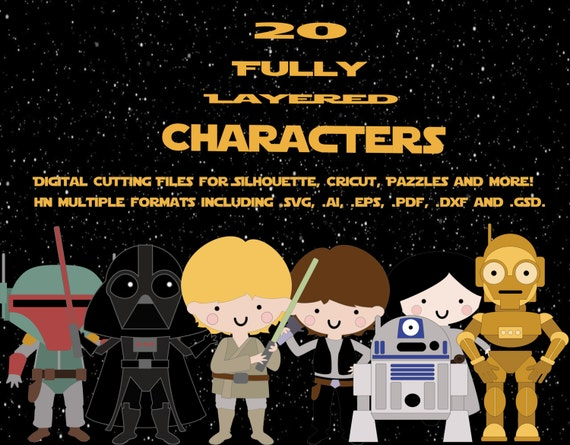 Star Wars Digital Cutting Files for Cutting Machines  - This Cut Set Includes 20 Fully Layered Vector Characters in PDF SVG AI E.P.S formats