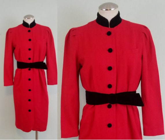 Classic 1980s Vintage Winter Dress / Crimson Red and Black Velvet / Modern Size Extra Small XS