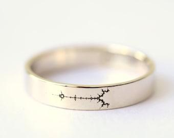White Gold Fractal Wedding Band, Science Jewelry, Mathematics Jewelry, Mandelbrot Set, Geek Wedding Ring, Math Wedding Ring,Fractal Art Ring