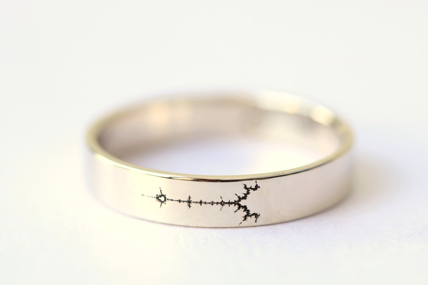 White Gold Fractal Wedding Band, Science Jewelry, Mathematics Jewelry,  Mandelbrot Set, Geek