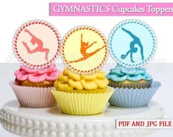 Girls Gymnastics Cupcake Toppers/ Gymnastics Printables/ Gymnastics Cupcake toppers/ Gymnastics Party/ Instant Download/ You Print 60% OFF