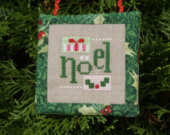 Finished Cross Stitch, Noel Christmas Ornament, Hanging Ornament, Stitched Ornament, Cross Stitch Ornament, Christmas, Polka Dot Backing