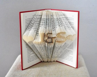 Valentine's gifts for him, Personalized Gift, Folded Book Art Sculpture, Boyfriend Gift